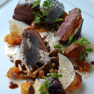 Asian Glazed Duck Breast Pineapple Chutney Potatoes and Mushrooms