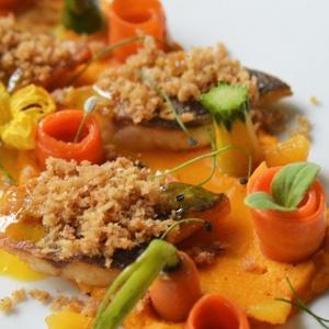 Crispy Sea Bass, Orange and Carrots in three ways