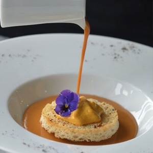 Lobster Bisque Soup Prawn Royale Crispy Melba and Rouille