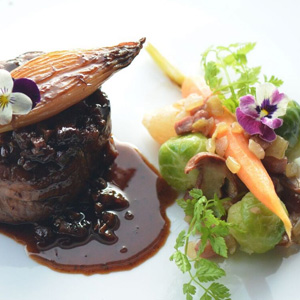 Pan Seared Beef Tanderloin, Perigueux Sauce, Glazed Vegetables