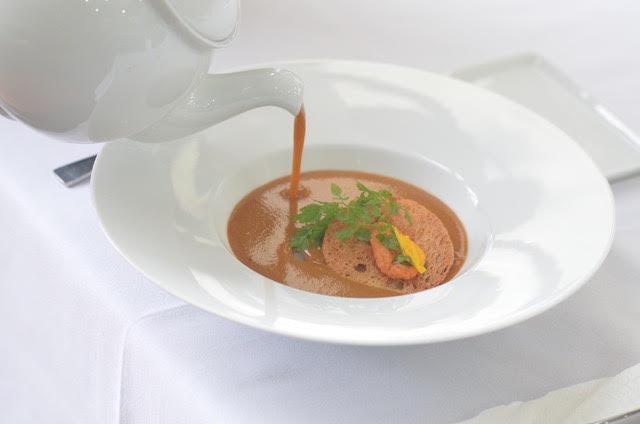 Lobster Bisque Soup, Pan-Seared Slipper Lobster,  Lemongrass Emulsion, Crispy Melba